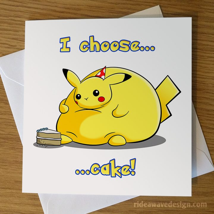 Fat Pikachu Pokemon Birthday Card