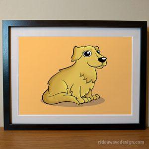 Golden Retriever cartoon pet portrait