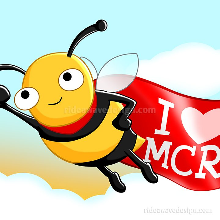 I Love Manchester Bee illustration