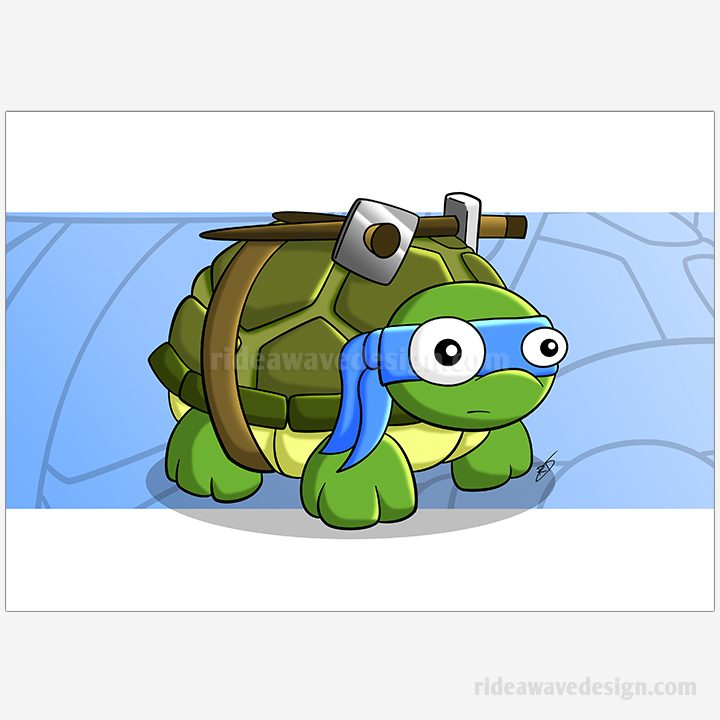 Leonardo ninja turtles illustration print