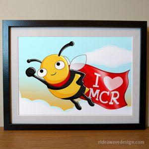 Manchester bee superhero art print