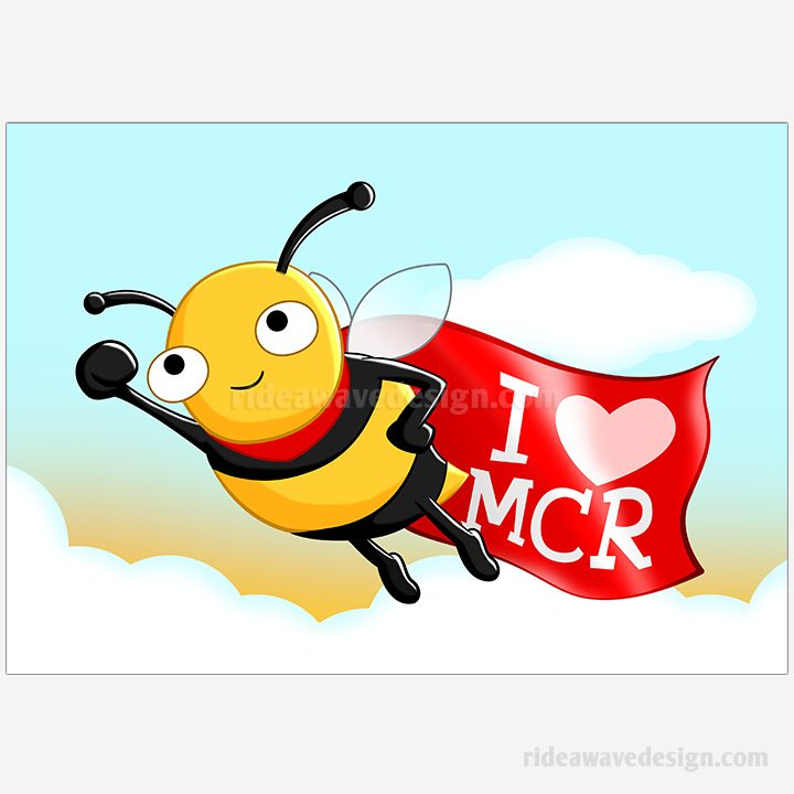 Manchester bee superhero illustration print