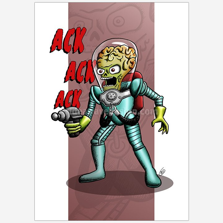 Mars Attacks illustration print