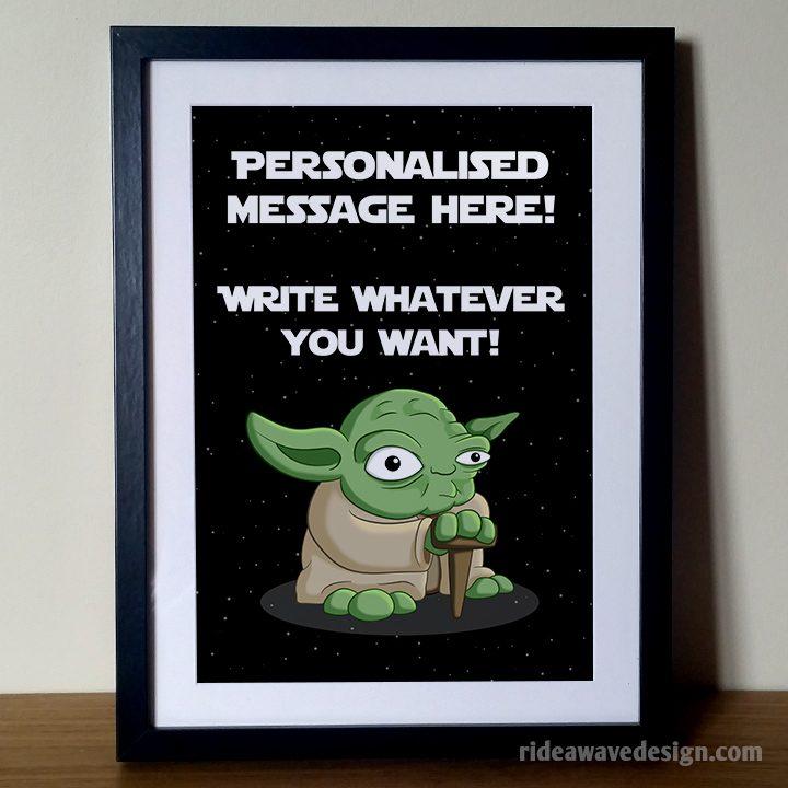 Personalised yoda star wars art print