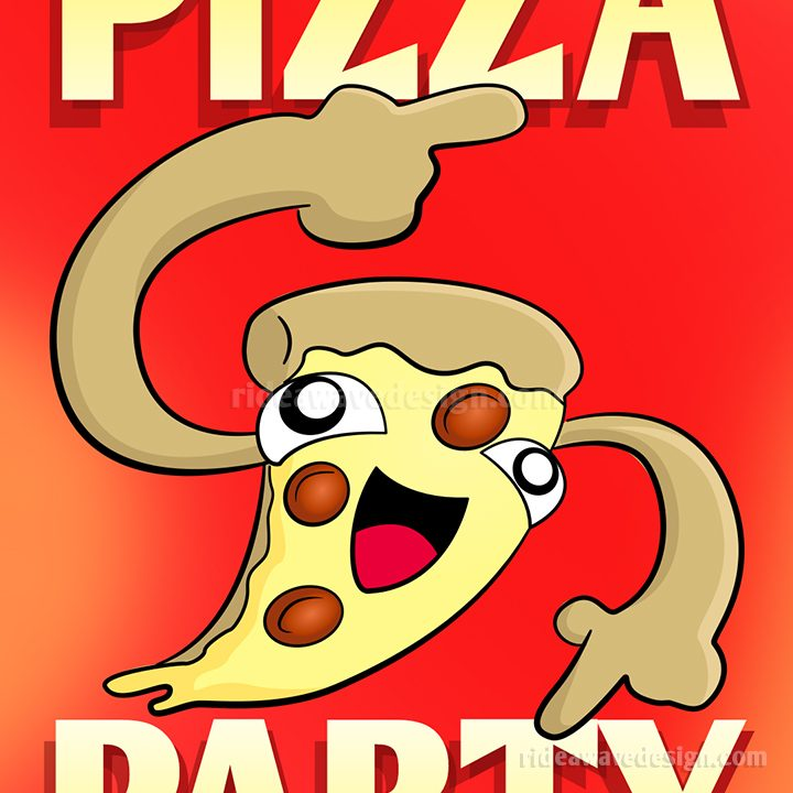 Pizza party cartoon poster