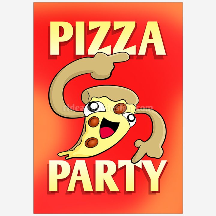 Pizza party illustration print