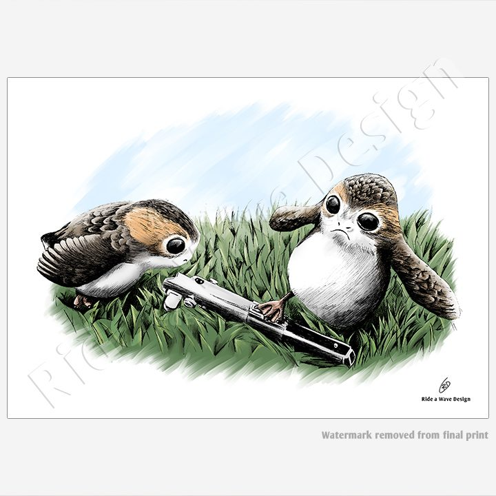 Porg Star Wars Illustration Print