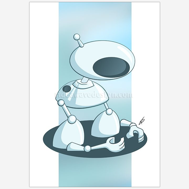 Robot arms illustration print