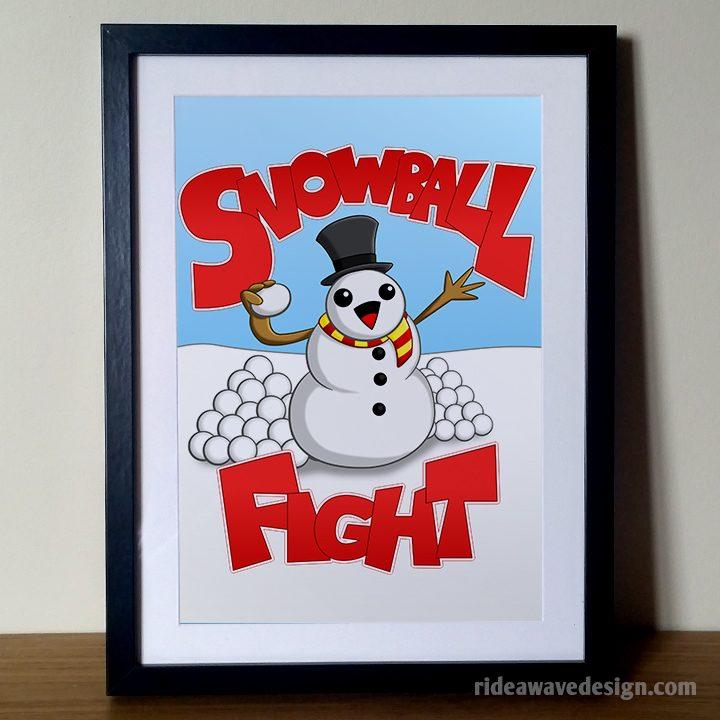 Snowball fight art print