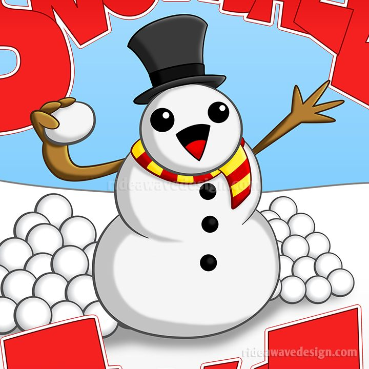 Snowball fight cartoon poster