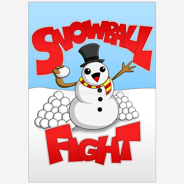 Snowball fight illustration print