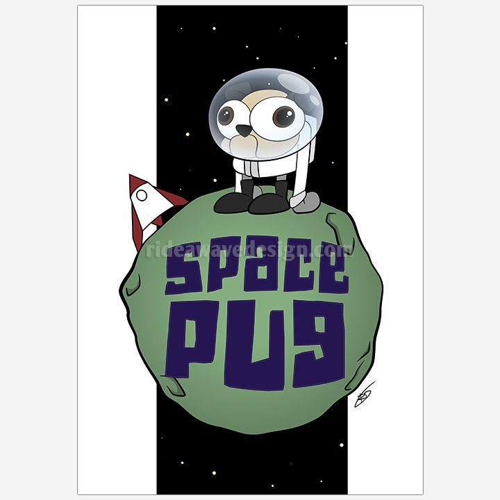 Space pug illustration print
