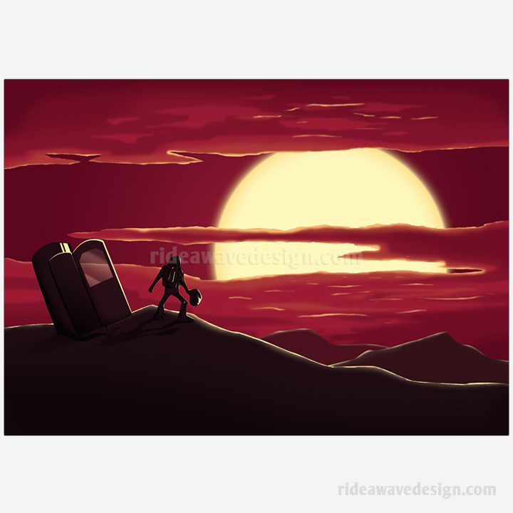Space scene illustration print