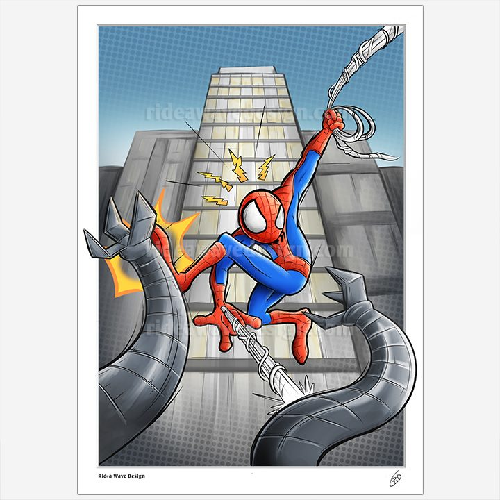 Spiderman cartoon illustration print
