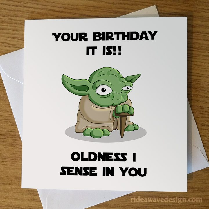 Yoda Birthday Card Ride A Wave Design