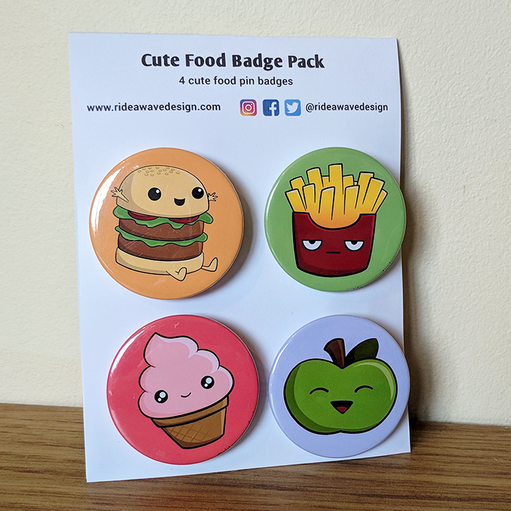 Cute Food Badge Pack
