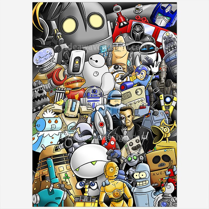Robots Illustration Print