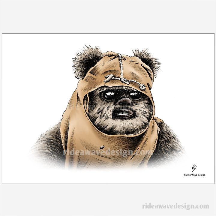ewok illustration star wars art print