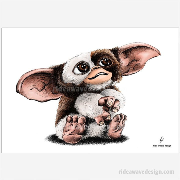 gizmo gremlins illustration print