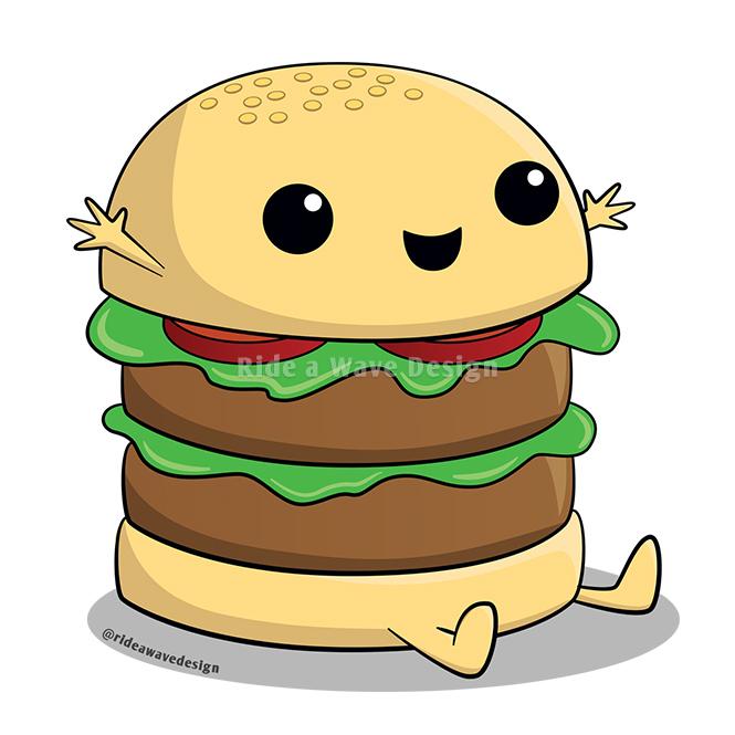 Kawaii Cartoon Burger T-Shirt