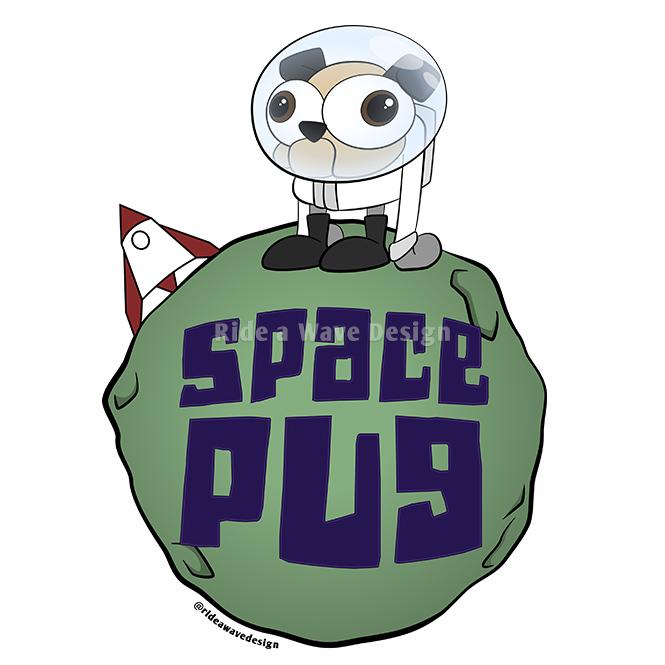 Space Pug Cartoon T-Shirt