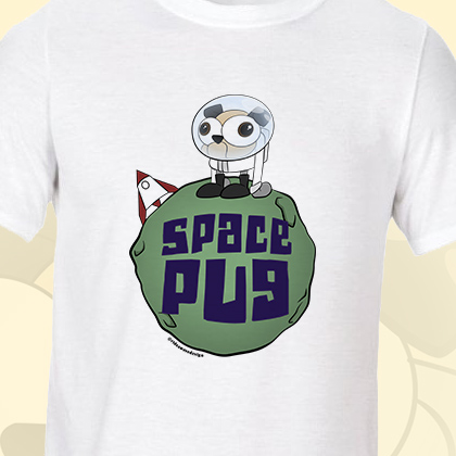 Space Pug Funny T-Shirt