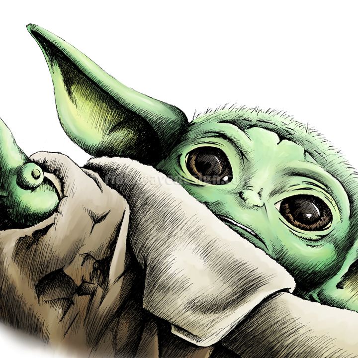 Baby Yoda Star Wars Mandalorian Art Print | Ride a Wave Design