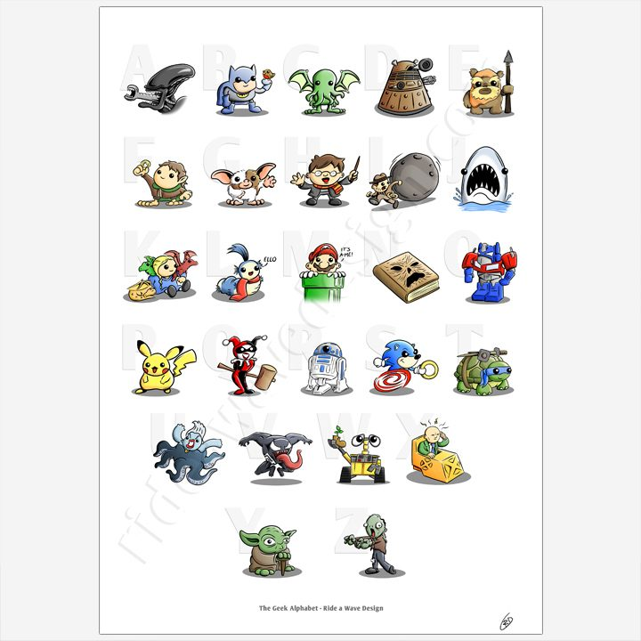 Geeky Alphabet Illustration Print