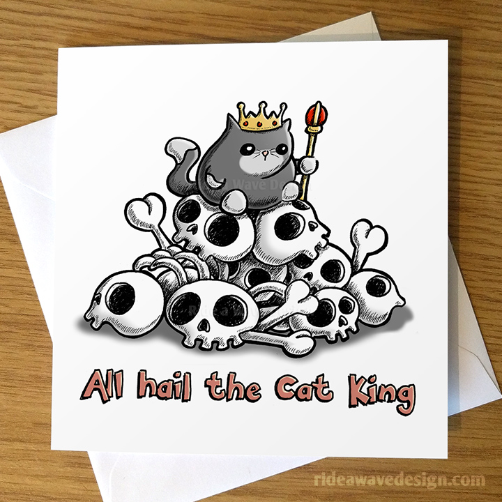 All Hail the Cat King Greeting Card